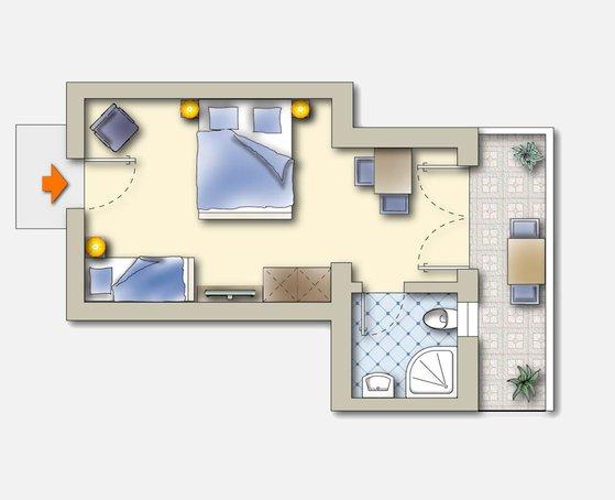 Skizze Apartment D im Landhaus